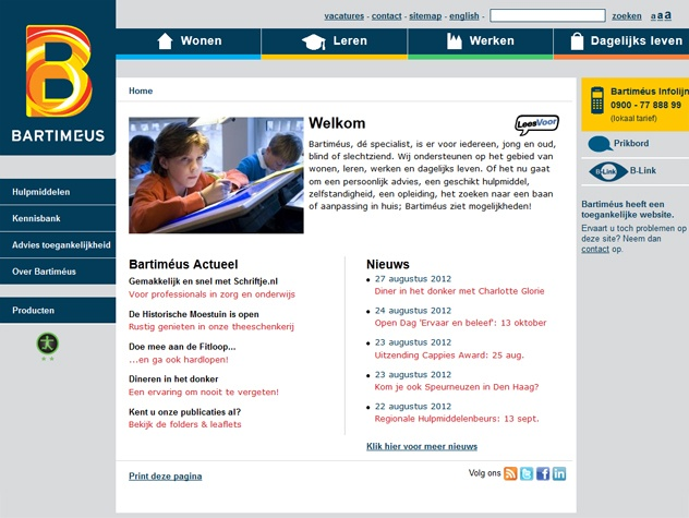Homepage stichting Bartimeus