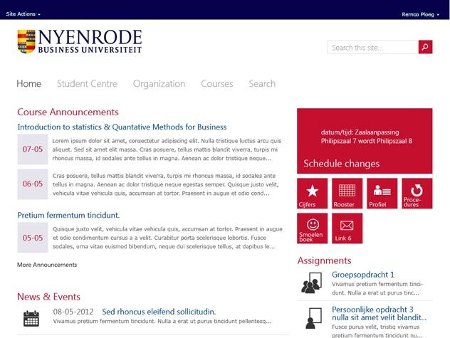 Homepage Intranet voor studenten Nyenrode