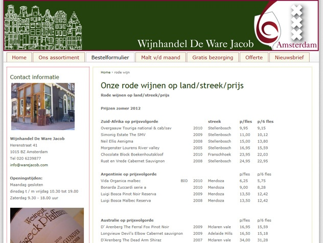 Wijnaanbod De Ware Jacob