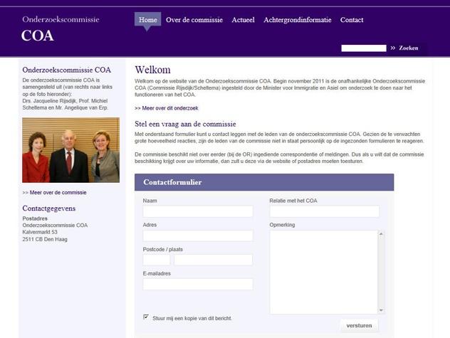 Homepage Onderzoekscommissie COA