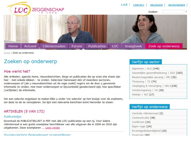Zoeken op onderwerp op LOC.nl