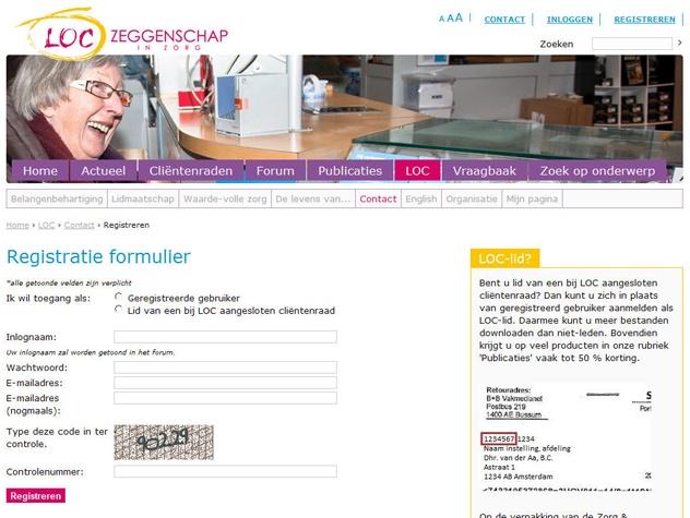 Registreren op LOC.nl