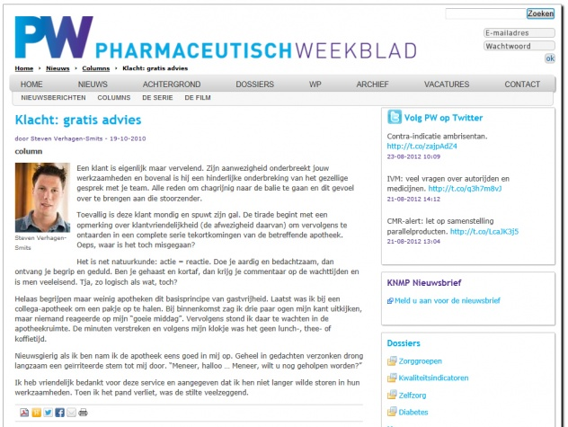 Column PW | Pharmaceutisch Weekblad