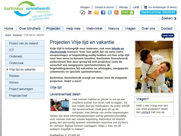 Projectpagina Steun Bartimeus