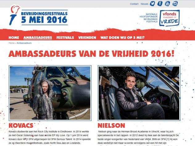 Bevrijdingsfestivals ambassadeurs