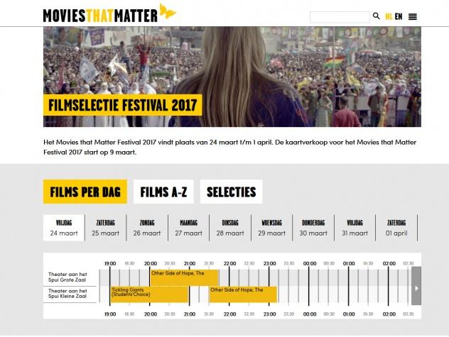 Films op het Movies that Matter festival in blokkenschema