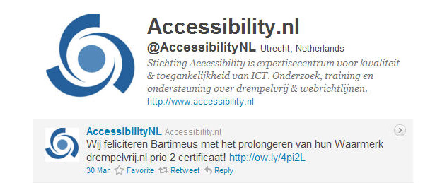 Accessibility feliciteert Bartiméus