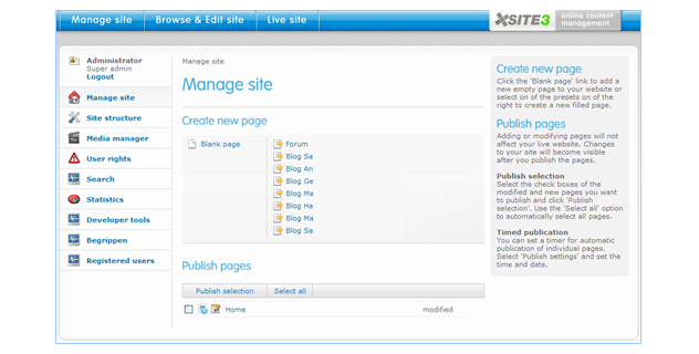 Content management in Xsite